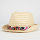 Ethnic Print Womens Removable Band Straw Fedora