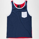 BLUE CROWN Color Block Mens Pocket Tank