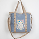 T-SHIRT & JEANS Patchwork Owl Chambray Tote Bag