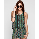 FULL TILT Neon Ethnic Print Womens Cutout Back Tank