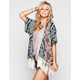 LOTTIE & HOLLY Border Print Womens Kimono