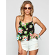 FULL TILT Tropical Print Womens Lattice Back Tank