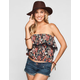 LOTTIE & HOLLY Floral Print Fringe Flounce Womens Top