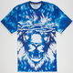 AURA GOLD Tie Dye Lion Mens T-Shirt