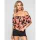 FULL TILT Floral Print Womens Peasant Crop Top