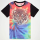 BLUE CROWN Tie Dye Tiger Mens T-Shirt