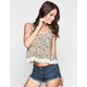 MINE Daisy Print Womens Crochet Trim Tank