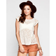 EYESHADOW Crochet Inset Womens Burnout Tee