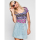 H.I.P. Boho Print Womens Lattice Back Crop Top