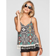 FULL TILT Southwest Print Womens Crochet Fringe Trim Tank