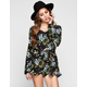 PATRONS OF PEACE Floral Print Womens Keyhole Back Romper