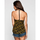 FULL TILT Sunflower Print Crochet T-Strap Womens Tank