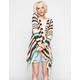FULL TILT Stripe Womens Fringe Hooded Wrap Sweater