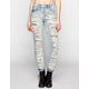 ALMOST FAMOUS Destructed Womens Suspendered Skinny Jeans