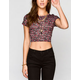 FULL TILT Ditsy Leaf Print Womens Crop Top