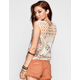 FULL TILT Boho Print Womens Crochet Back Tank