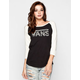 VANS Washed Leopard Womens Baseball Tee