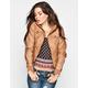 FULL TILT Rib Inset Sleeve Womens Faux Leather Jacket