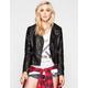 FULL TILT Womens Hooded Faux Leather Biker Jacket