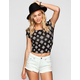 FULL TILT Ethnic Print Keyhole Cross Womens Crop Top