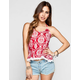 FULL TILT Bandana Print Womens Crochet Trim Halter Top