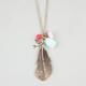 FULL TILT Feather/Bird/Rose Charm Necklace