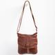 Flower Stitch Faux Leather Crossbody Bag