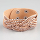 FULL TILT Faux Leather Stone Cuff Braclet