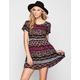 ALI & KRIS Folk Print Babydoll Dress