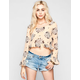 ALI & KRIS Womens Ruffled Bell Sleeve Crop Top