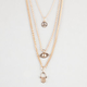 FULL TILT 3 Strand Peace/Evil Eye/Hamsa Hand Charm Necklace