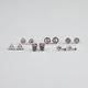FULL TILT 6 Pairs Owl/Key/Triangle Earrings