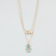 FULL TILT 2 Row Hamsa Hand/Elephant Charm Necklace