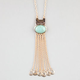FULL TILT Turquoise Oval Fringe Necklace