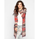 FULL TILT Ethnic Pattern Womens Hooded Maxi Cardigan
