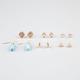 FULL TILT 6 Pairs Turquoise/Triangle/Disc Earrings