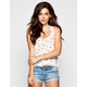 FULL TILT Floral Print Crochet Trim Womens T-Back Tank