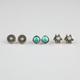 FULL TILT 3 Pairs Round Medallion Stud Earrings