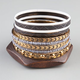 FULL TILT 10 Piece Grey/White/Gold/Wood Bangles