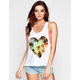 FULL TILT Tropical Heart Womens Hi Low Tank