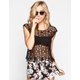 H.I.P. Allover Floral Crochet Womens Top