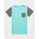 BLUE CROWN Contrast Mens Pocket Tee