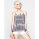 PATRONS OF PEACE Boho Print Womens Lattice Back Tank