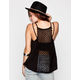 FULL TILT Floral Crochet Back Womens Tank