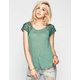 FULL TILT Lace Raglan Womens Shirtail Top