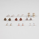 FULL TILT 9 Pairs Rose/Anchor/Skull Earrings