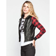 FULL TILT Plaid Sleeve Womens Hooded Faux Leather Jacket