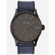 NIXON Sentry Leather Gunmetal Watch