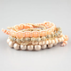 FULL TILT 6 Pack Peach/Gold Bead Bracelets