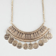 FULL TILT Textured Statement with Coins Necklace